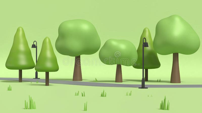 Walkway and lamp with many trees in green parks,cartoon style low poly 3d render stock illustration