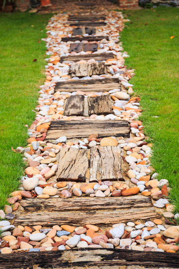 Walkway made from wood and gravel royalty free stock image