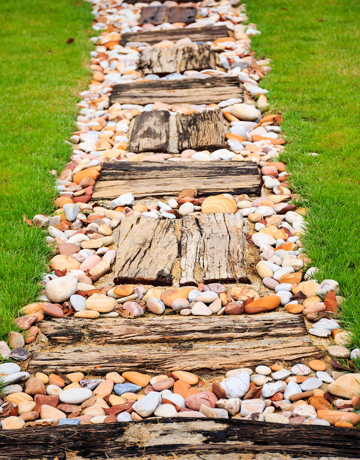 Walkway made from wood and gravel stock photo