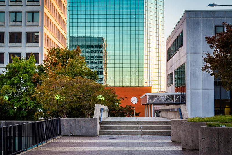 Walkway and modern buildings in downtown Winston-Salem, North Ca. Rolina royalty free stock photo