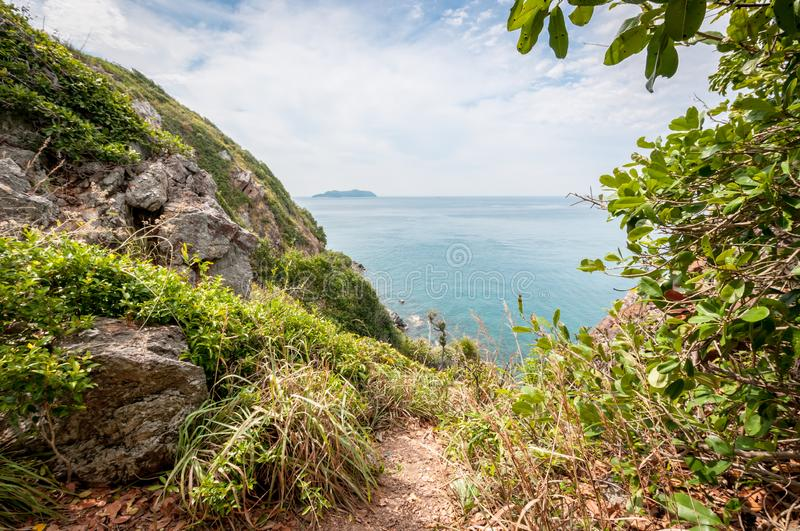 Walkway and ocean landscape of Laem Sing hill scenic point. Landscape stock photos
