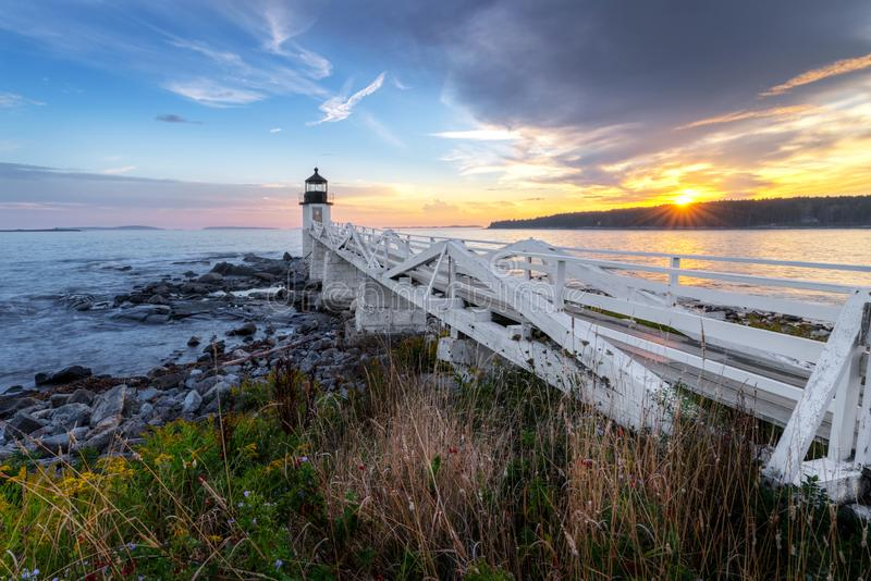 Walkway Out to Marshall Point Lighthouse stock photo