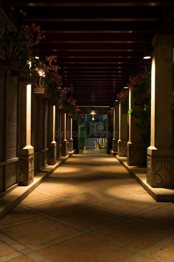 Walkway Pillars. Nightshot of an outdoor walkway decorated with pillars royalty free stock image