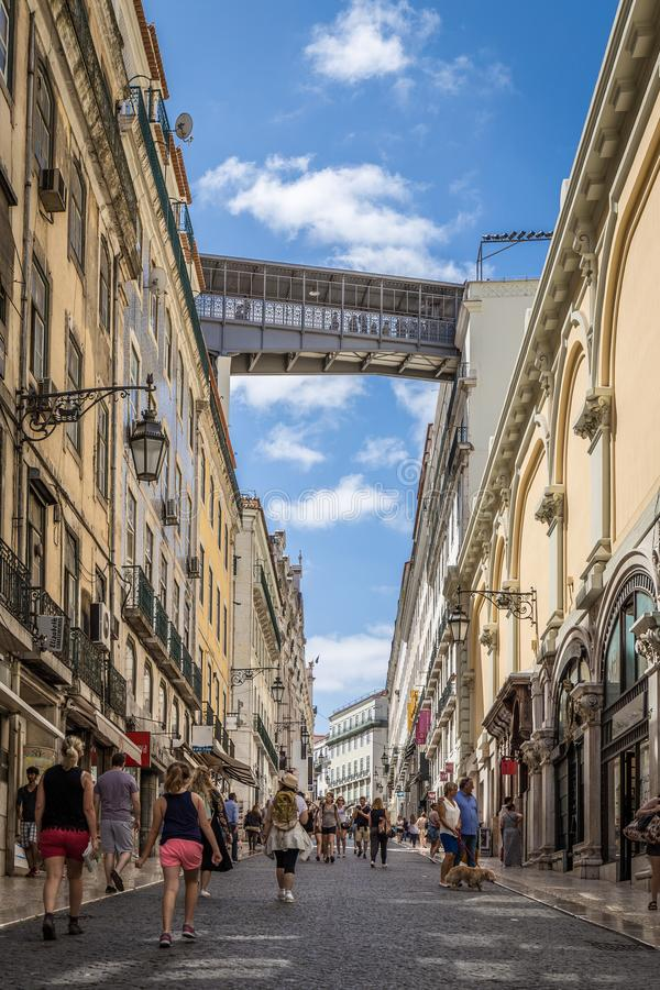 Walkway of the Santa Justa Lift in Lisbon. Portugal royalty free stock photography