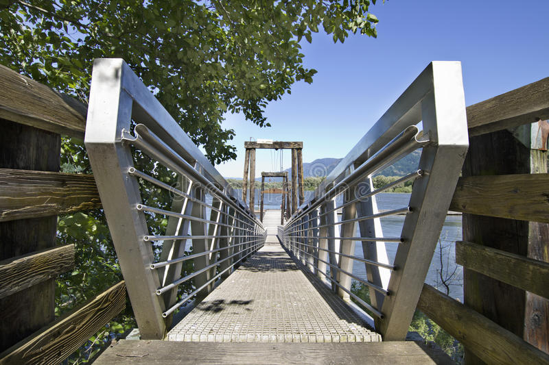 Walkway to Boat Moorage. At the Columbia River royalty free stock photo
