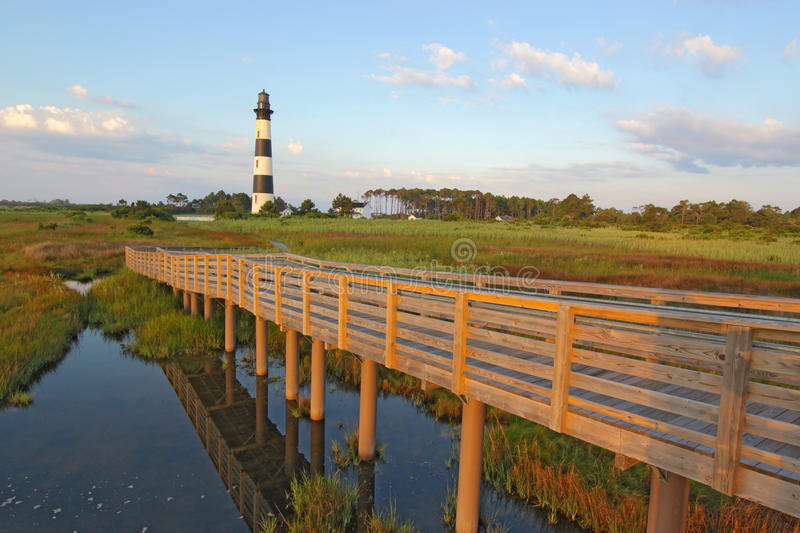 Walkway to the Bodie Island lighthouse royalty free stock images