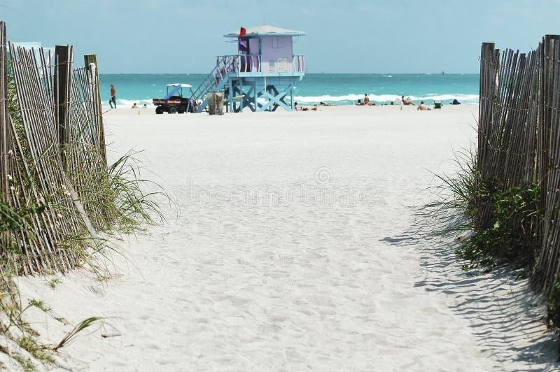 Walkway to famous South Beach, Miami stock image