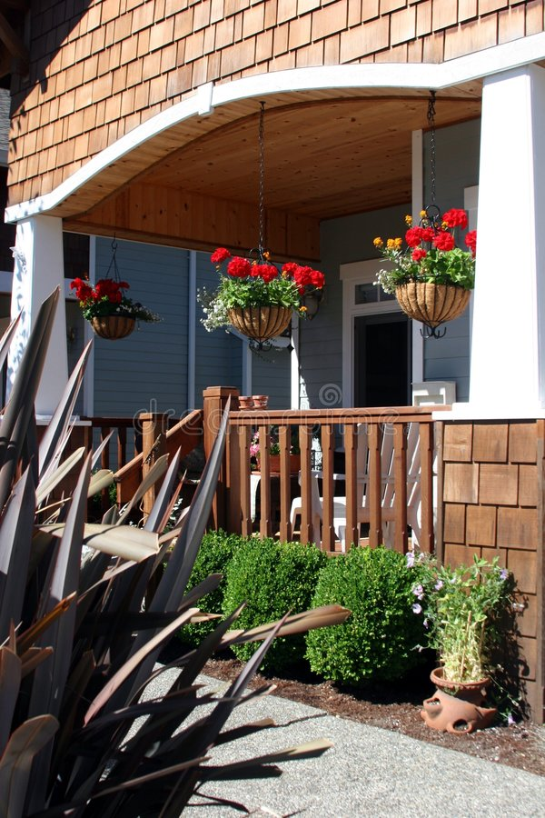 Walkway to Home. The front walkway of a craftsman style home stock photo