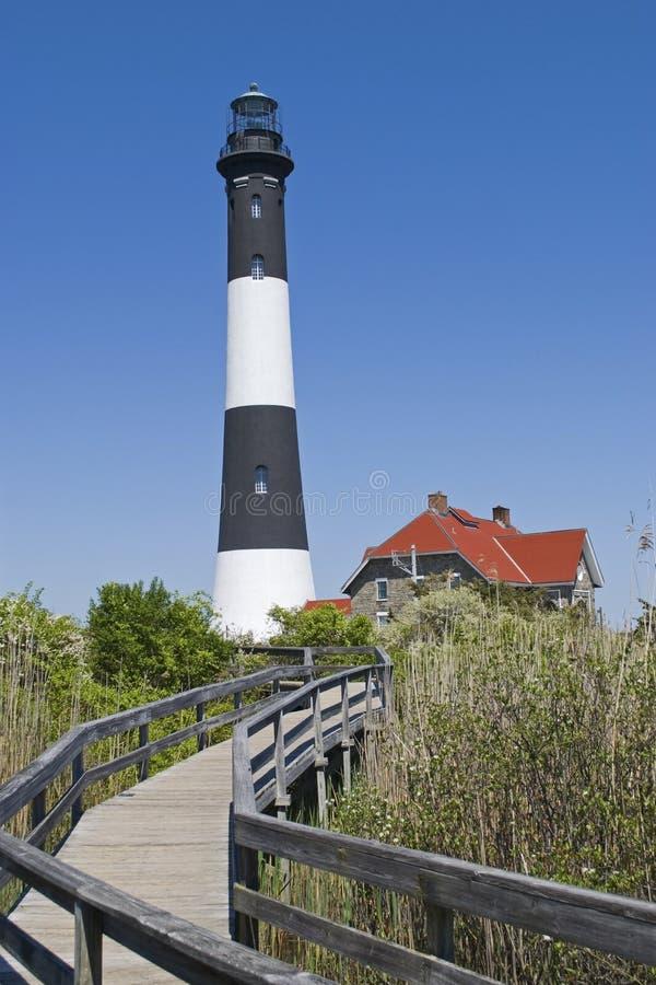 Walkway to Lighthouse stock photography