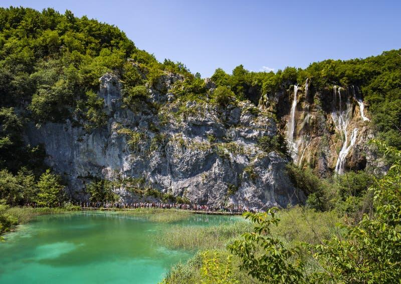 Walkway to Veliki Slap Big Waterfall in Plitvice Lakes National Park, Croatia stock photos