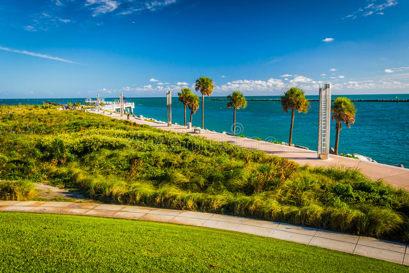 Walkway and view of the Atlantic Ocean at South Pointe Park in M stock image