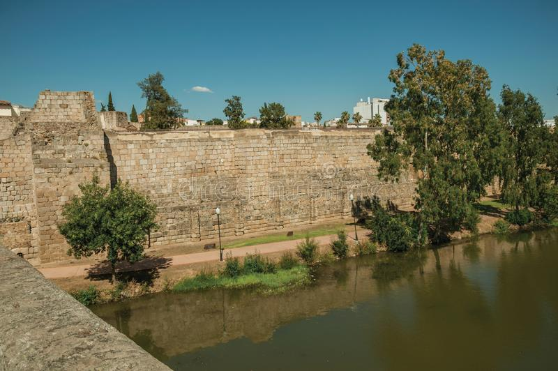 Wall from the Alcazaba next to the Guadiana River at Merida royalty free stock images