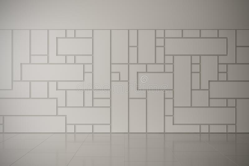 Wall art gallery simple empty frames decoration. For your works. 3d design render empty room royalty free illustration