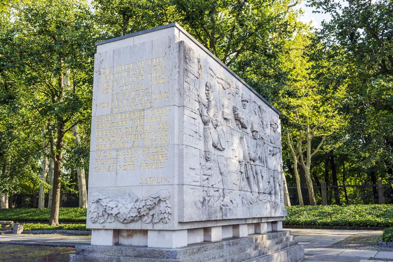 Wall art in the Soviet Memorial in Treptower Park in Berlin royalty free stock photos