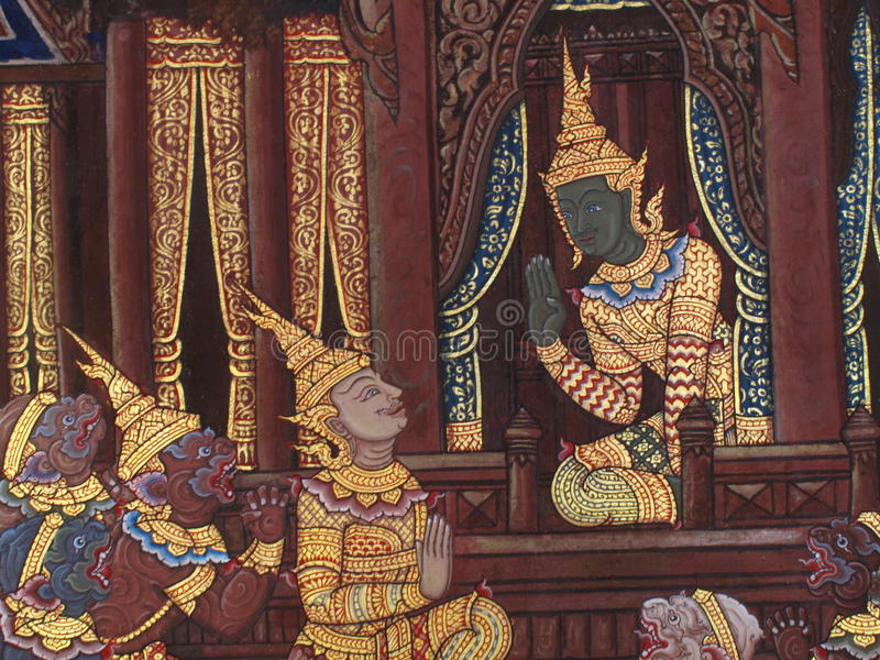 Wall Art Thailand Culture stock image