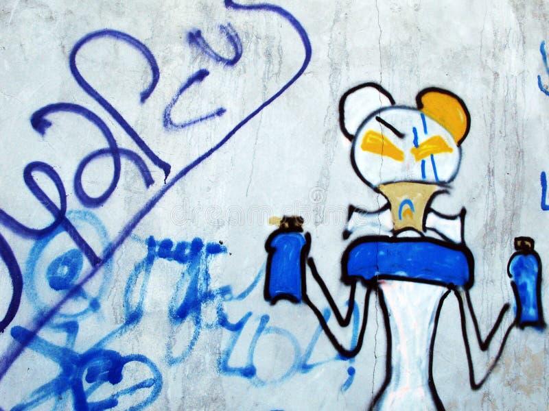 Wall art. Weird graffiti. stock illustration