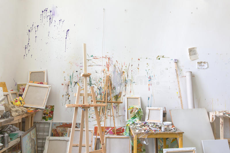 Wall in the artist`s studio interior, workshop royalty free stock image