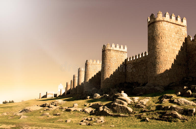 Download Wall of Avila stock image. Image of grass, fortification - 23913739