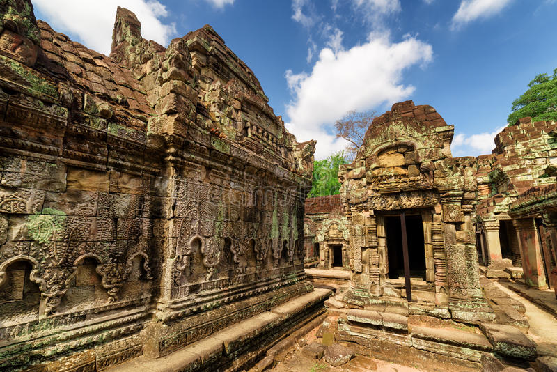 Wall with bas-relief of ancient Preah Khan temple in Angkor. Wall with bas-relief of ancient Preah Khan temple in enigmatic Angkor, Siem Reap, Cambodia stock photography