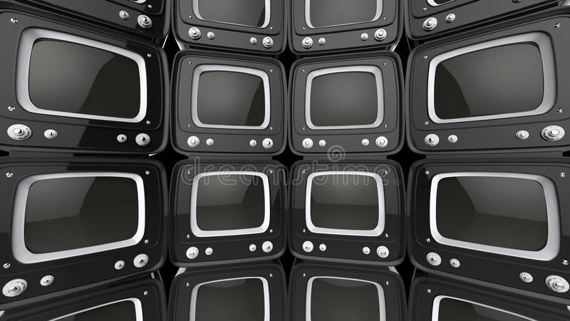 Wall of black retro style TV sets stock illustration