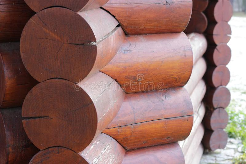 Wall of blockhouse from logs closeup. stock photos