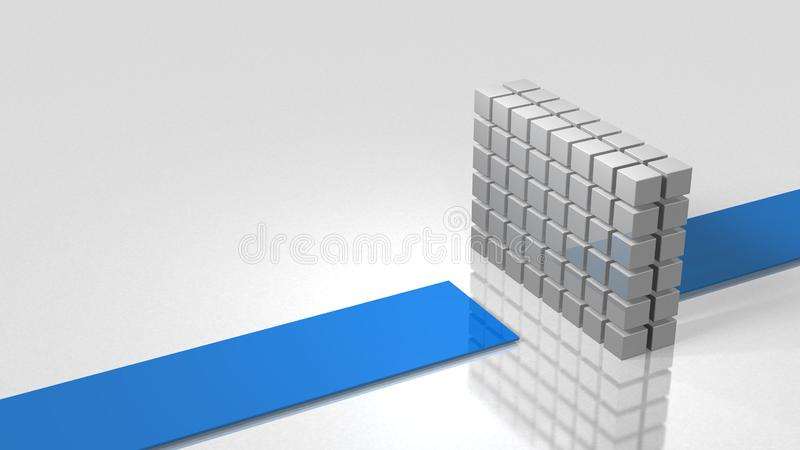 The wall is blocking the course. It represents an unexpected accident. 3D illustration vector illustration