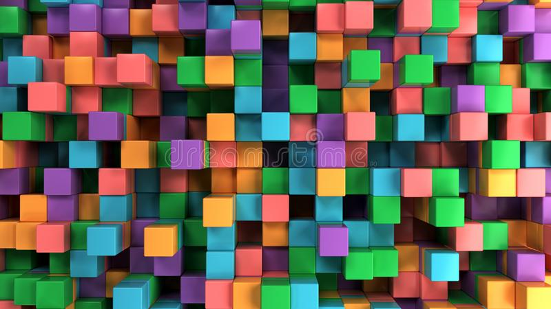 Wall of blue, green, orange and purple cubes royalty free illustration