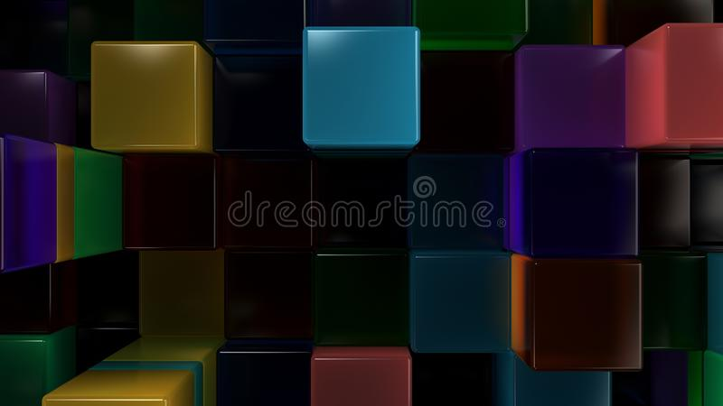 Wall of blue, green, orange and purple glass cubes stock illustration