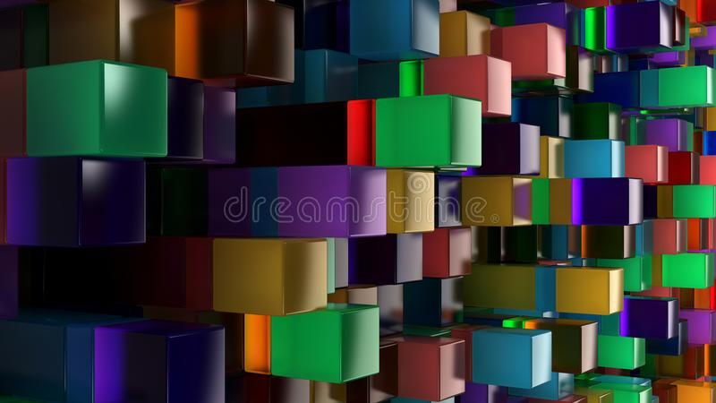 Wall of blue, green, orange and purple glass cubes royalty free illustration
