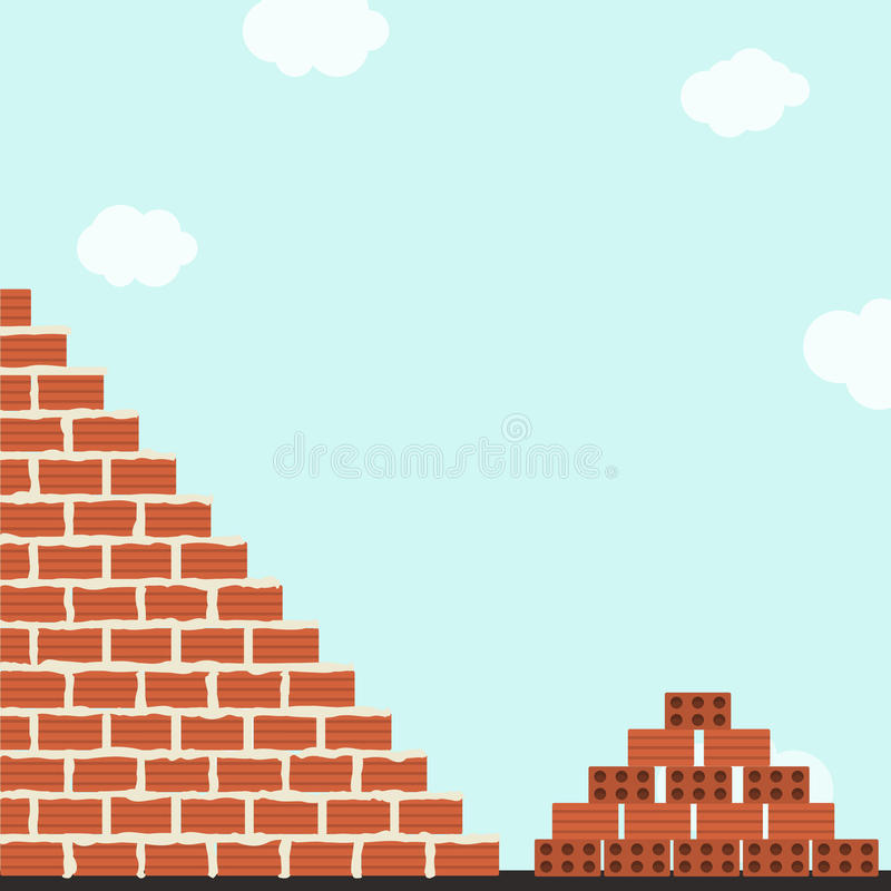 Wall of bricks. Brick wall being cemented. Stack of clay bricks next to wall. Blue sky in the background vector illustration