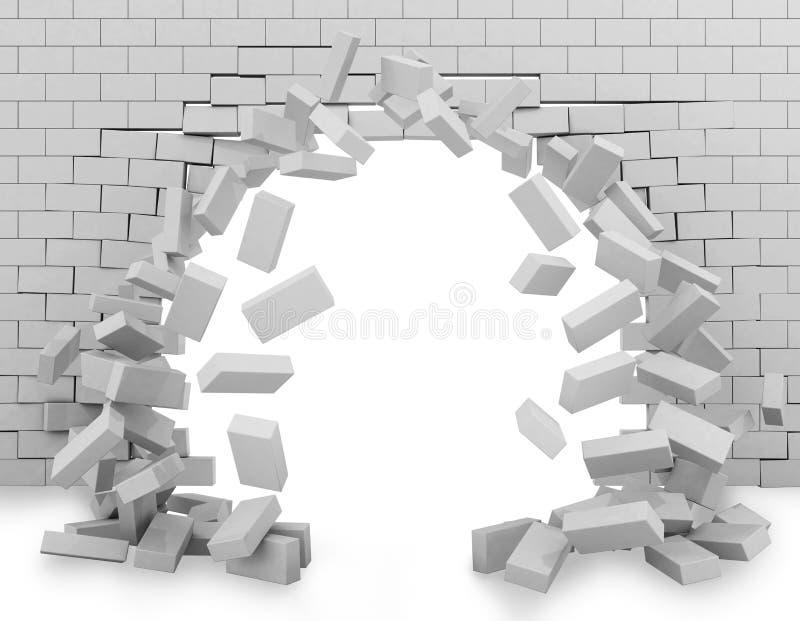 Wall broken through 3d rendering royalty free illustration