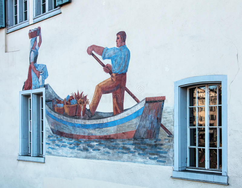 Wall of a building in the Schipfe quarter in Zurich royalty free stock photography