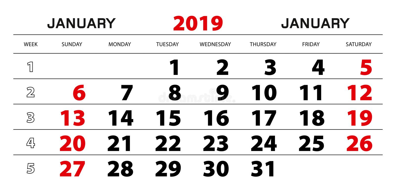 Wall calendar 2019 for january, week start from sunday. vector illustration