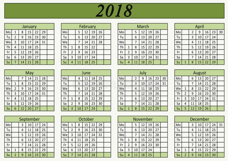 Wall calendar for office green color. stock photography