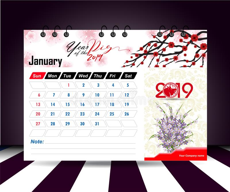 January 2019. Wall calendar planner template. Vector design print template with place for photo. Week starts on Sunday. Wall calendar 2019 planner template stock illustration
