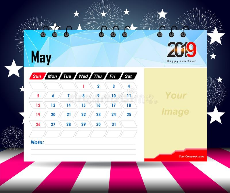 May 2019. Wall calendar planner template. Vector design print template with place for photo. Week starts on Sunday. Wall calendar 2019 planner template. Vector royalty free illustration