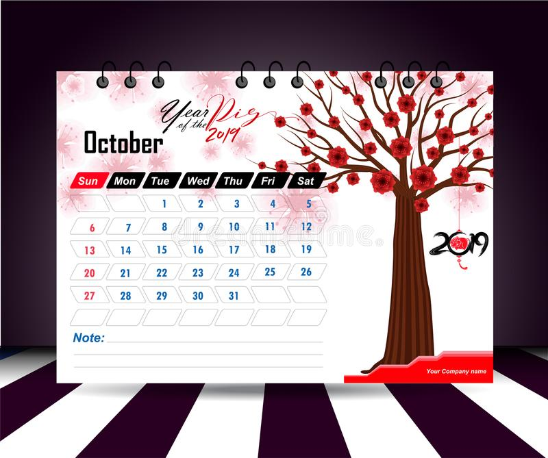 October 2019. Wall calendar planner template. Vector design print template with place for photo. Week starts on Sunday. Wall calendar 2019 planner template royalty free illustration