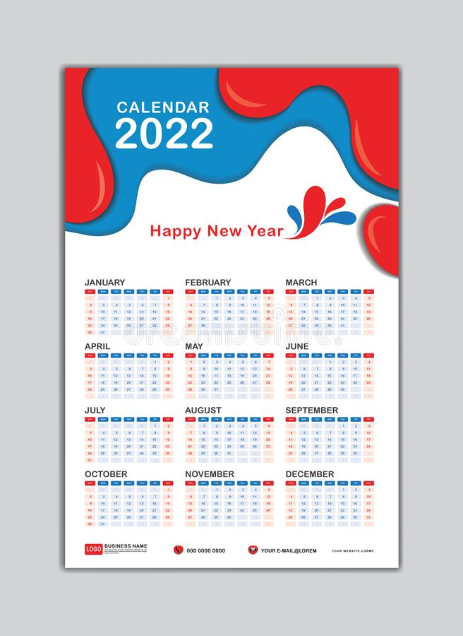 Wall Calendar 2022.Wall Calendar 2022 Template Happy New Year 2022 Desk Calendar 2022 Design 2022 Text Stock Vector Illustration Of Desktop Diary 205292468