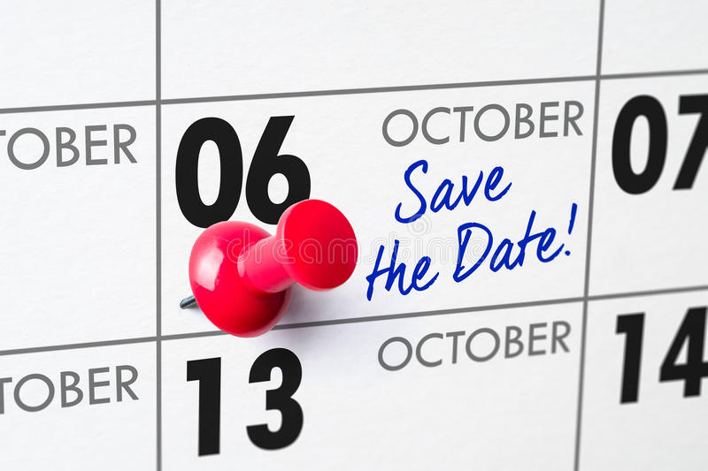 October 06. Wall calendar with a red pin - October 06 stock photos