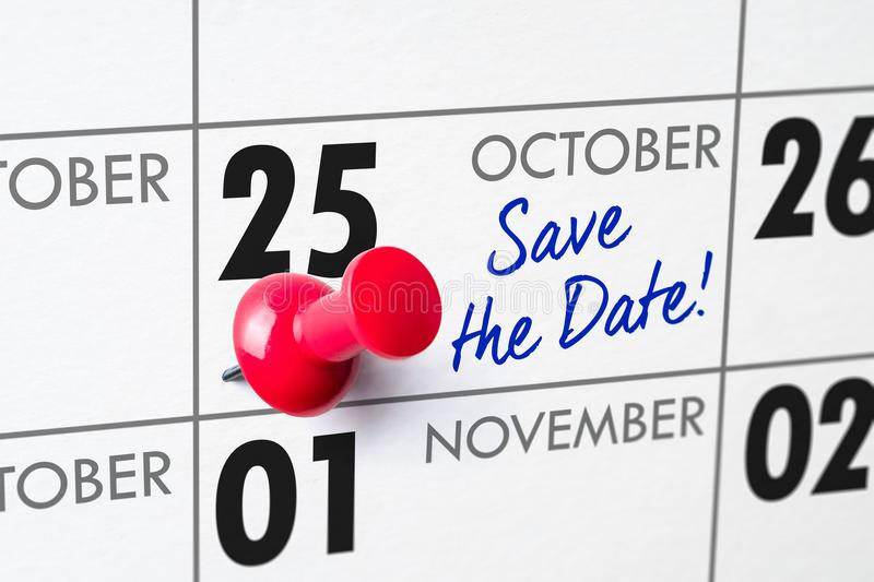 October 25. Wall calendar with a red pin - October 25 stock photography