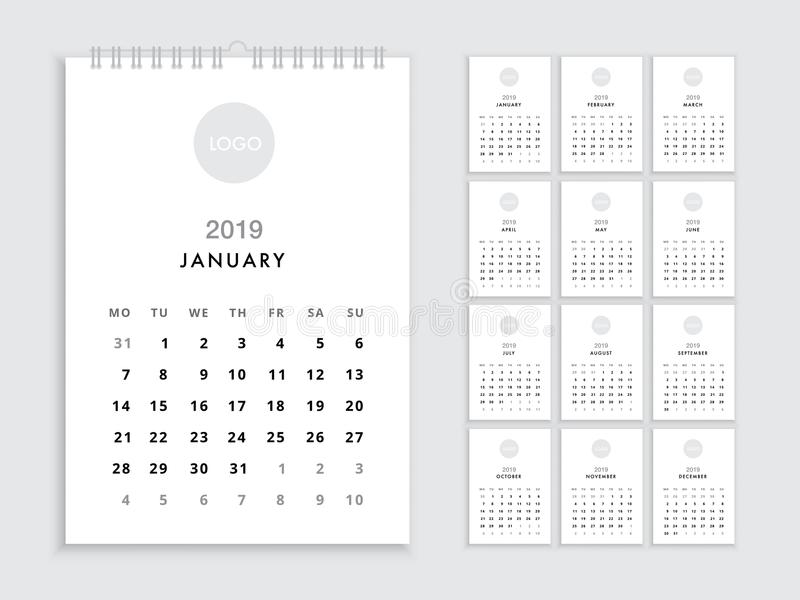 Wall Calendar 2019 Template Stock Vector - Illustration Of
