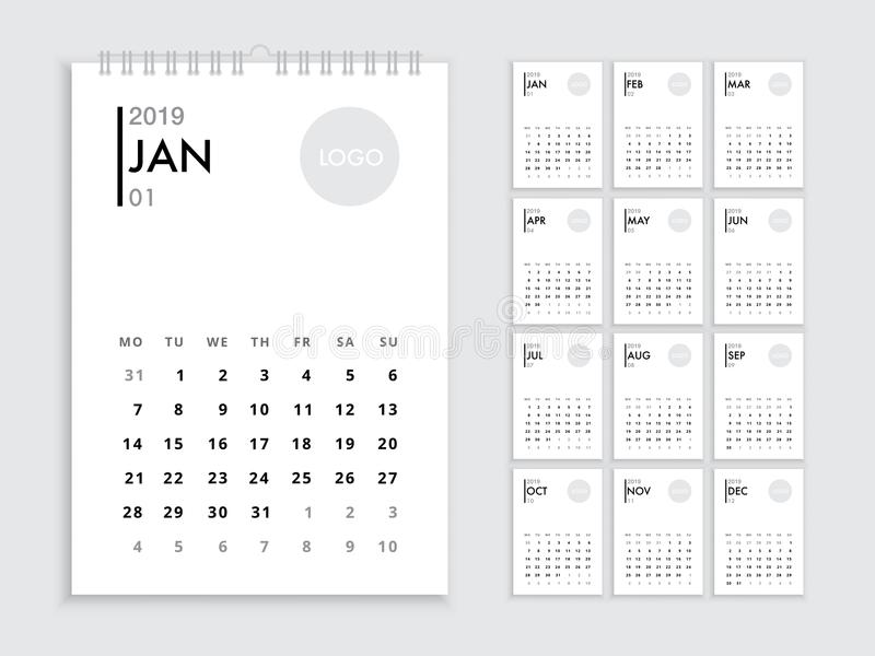 Wall Calendar 2019 Template Stock Vector Illustration Of January