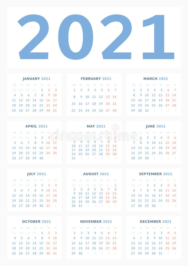 Free Wall Calendar Template For 2021 In A Classic Minimalist Style. Week Starts On Monday. Business Illustration. Monthly Calendar. A1 Royalty Free Stock Photo - 184198415