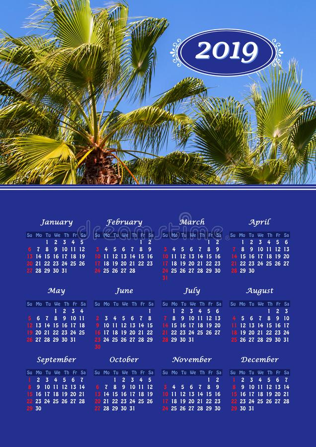 Wall calendar for 2019 year, single page with photo royalty free stock image