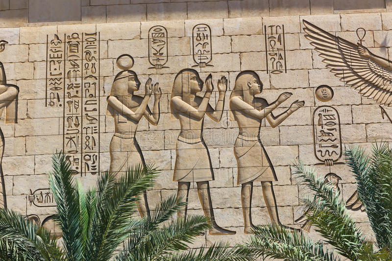 Wall carving on Egyptian temple stock photos