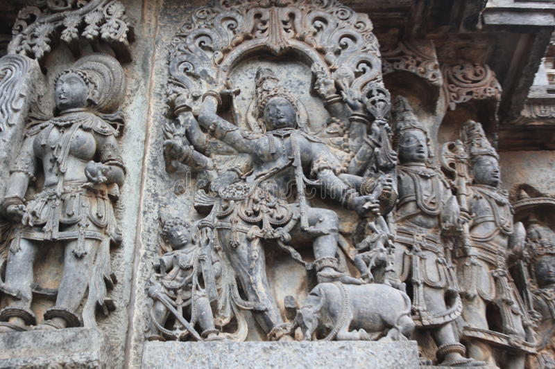 Hoysaleswara Temple Wall carving of goddess bhairavi hindu female god in furious form stock images