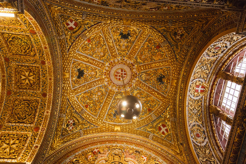 Wall and ceiling frescoes. In St John's Co-Cathedral in Valletta in Malta stock image