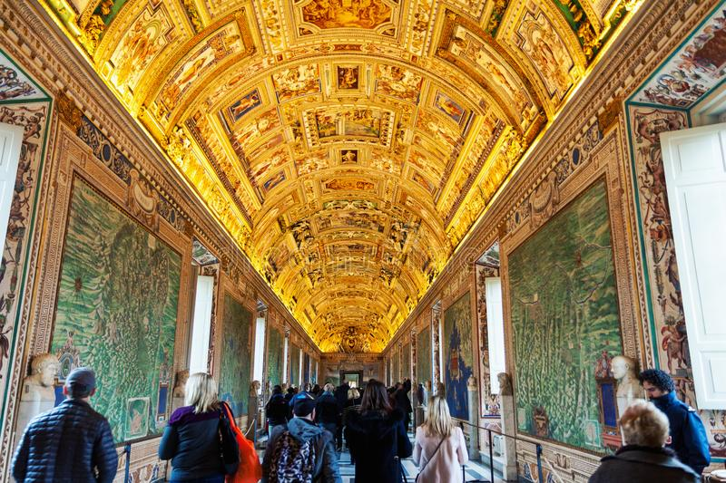 Wall and ceiling paintings in the Gallery of Maps at the Vatican Museum. Vatican, Vatican city - December 9, 2017: Wall and ceiling paintings in the Gallery of stock photos