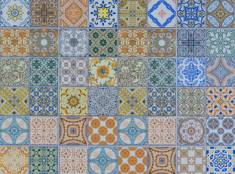 Wall ceramic tiles patterns Mega set royalty free stock photo