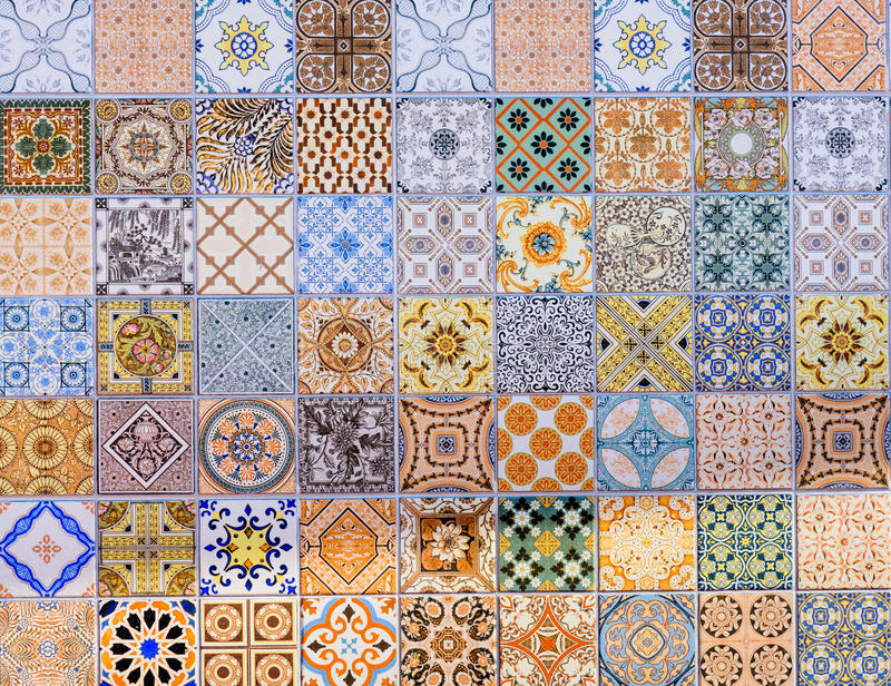 Wall ceramic tiles patterns Mega set royalty free stock photos